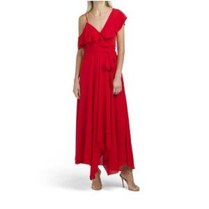 Likely One Shoulder Midi Dress Ruffle Red 6